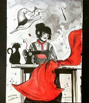 Inktober 7 - Seamstress/Tailor Witch