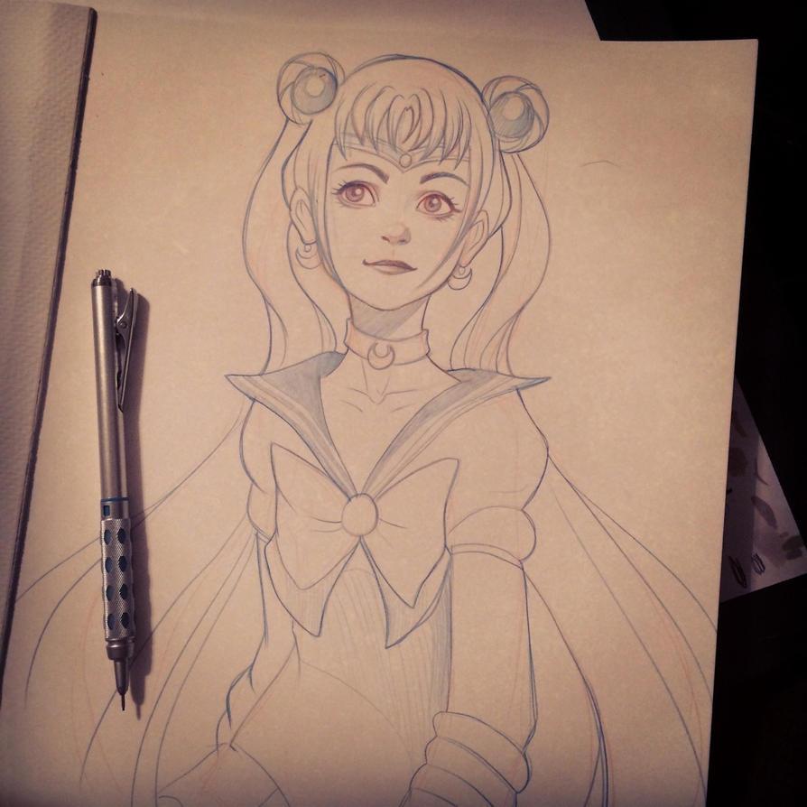 Sailor Moon Sketch by chrissie-zullo