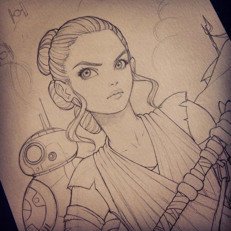Rey and BB-8 by chrissie-zullo