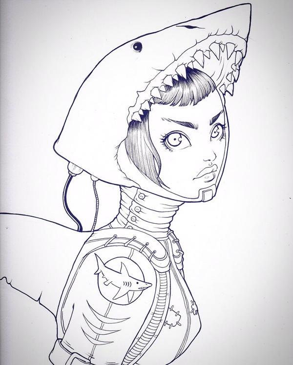 Shark Girl by chrissie-zullo
