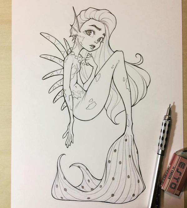 Mermaid Sketch by chrissie-zullo