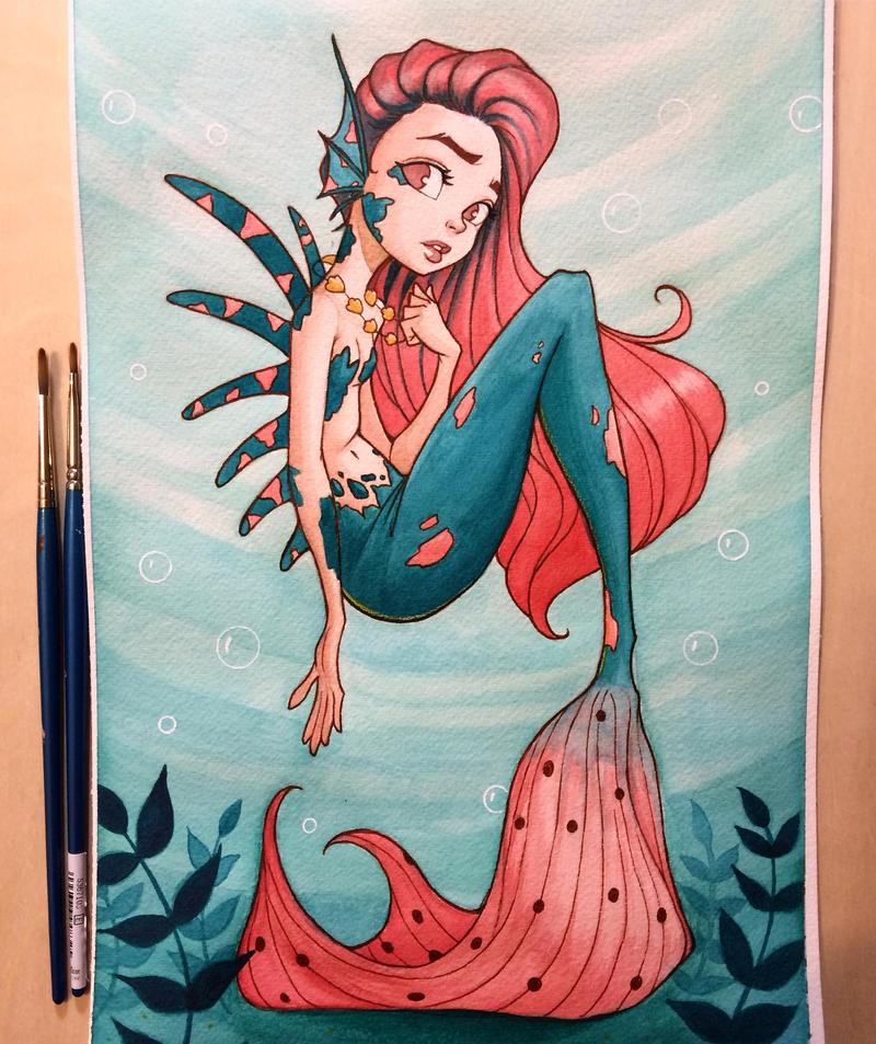 Mermaid Watercolor by chrissie-zullo