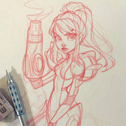 Samus Aran Sketch by ChrissieZullo