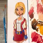 Power Girl Oil Painting