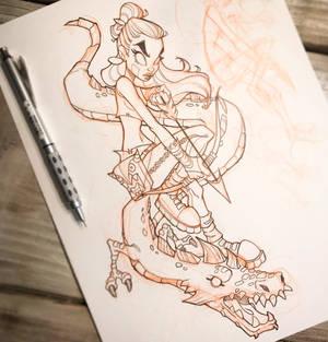 Girl and Dragon Sketch