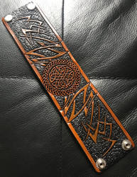 Celtic Circle Tribal Leather Cuff