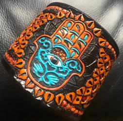 Hand of Fatima Leather Cuff.