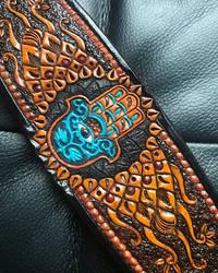 Hand of Fatima Leather Cuff