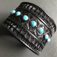Black Stone a Rocker Leather Cuff