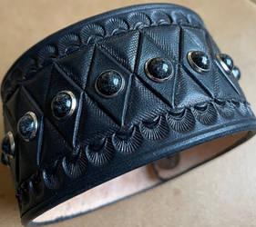 Black Stone Leather Cuff