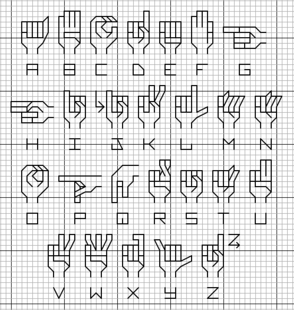 cross stitch sign language alphabet
