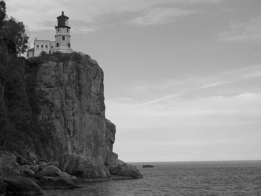 Black and White Lighthouse by SuperSparkle