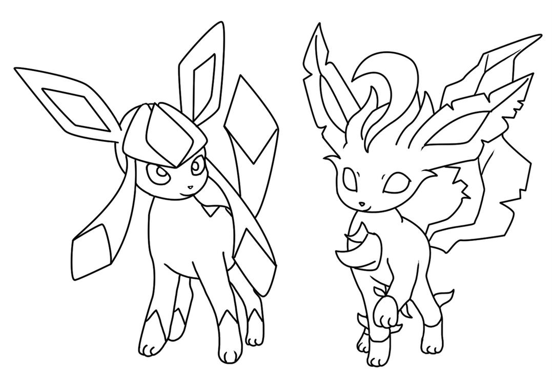 glaceon and leafeon coloring page by bellatrixie white on