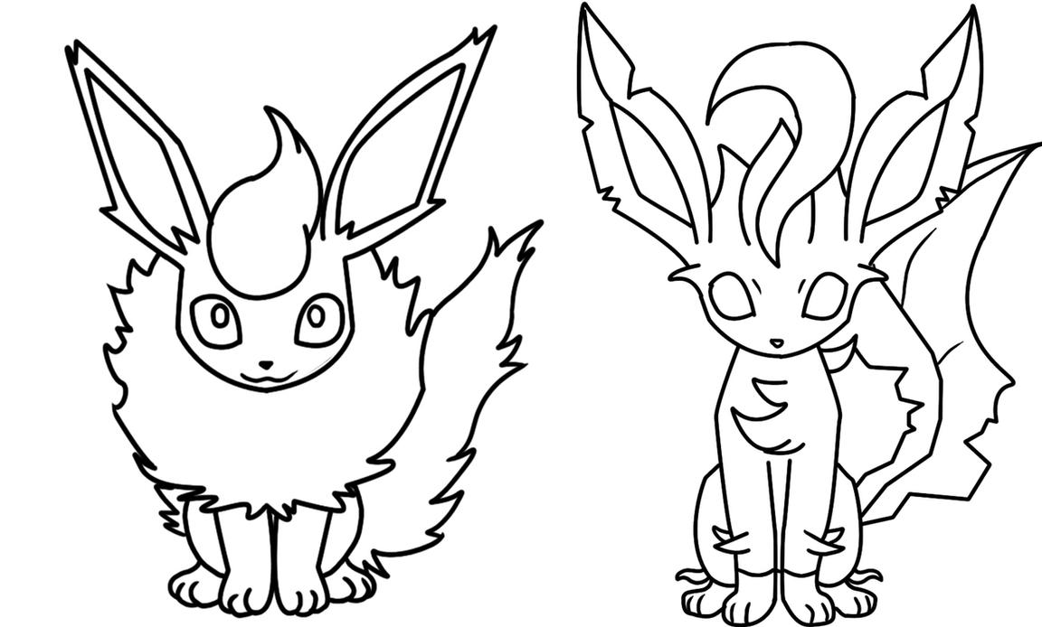Flareon And Leafeon Coloring Page By Bellatrixie White On DeviantArt.