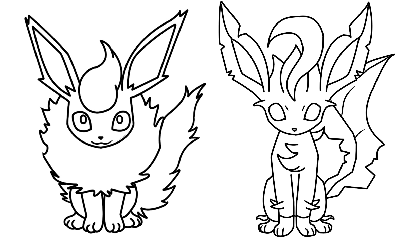 Flareon and leafeon coloring page by bellatrixie white on for Flareon coloring pages