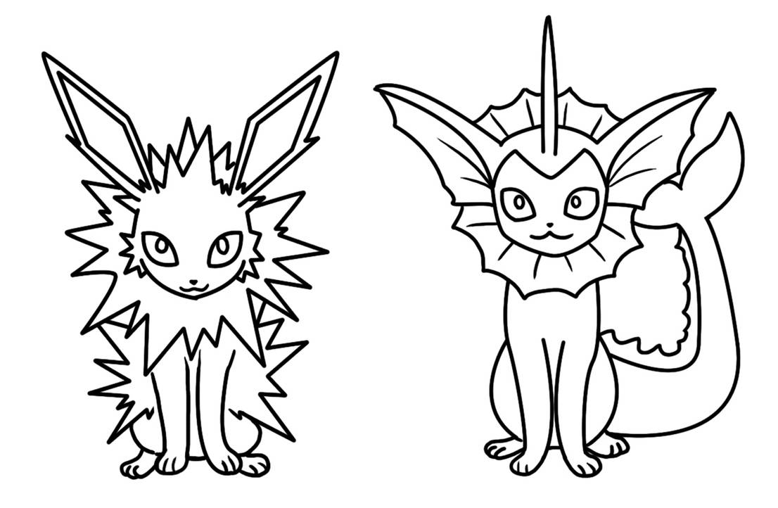 Jolteon And Vaporeon Coloring Page By Bellatrixie White On
