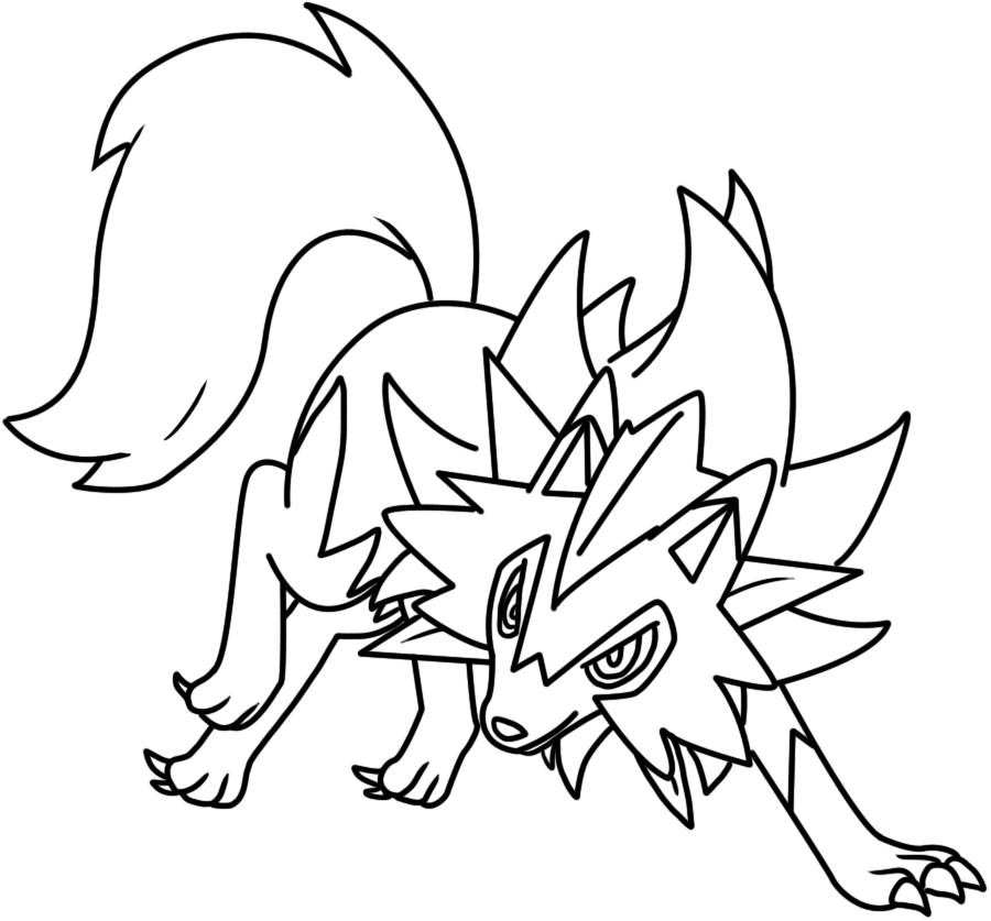 Lycanroc dusk form lineart by BellatrixieWhite