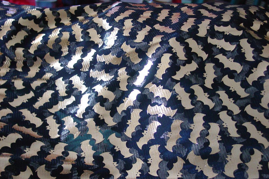 Gold Bat Fabric by skullchickStock