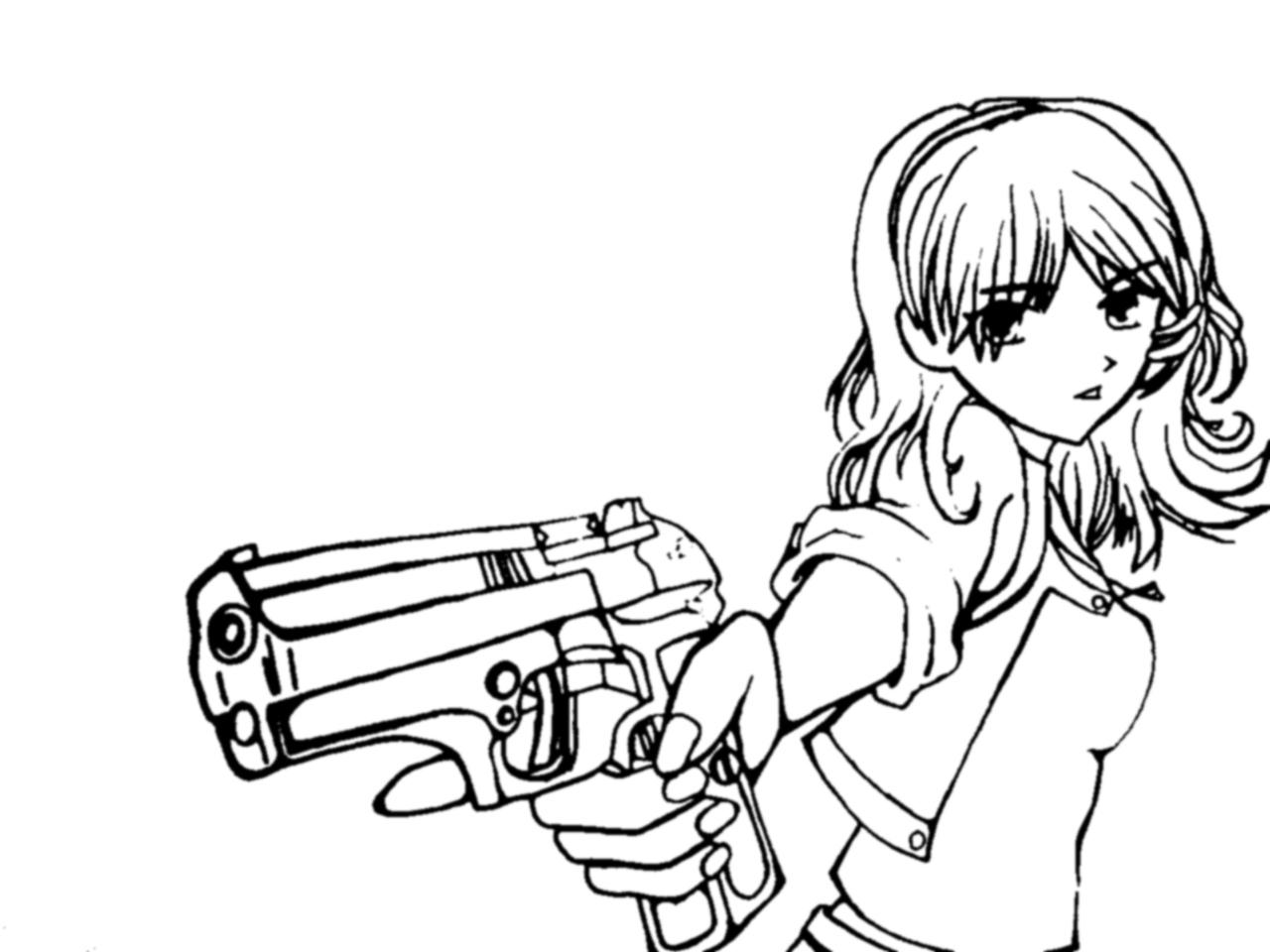 Line Art Gun : Girl with gun line art by justmikki on deviantart