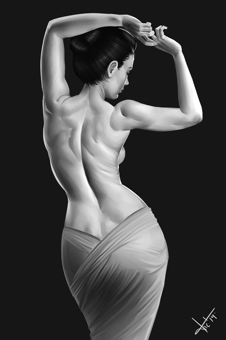 Female Back Black And White