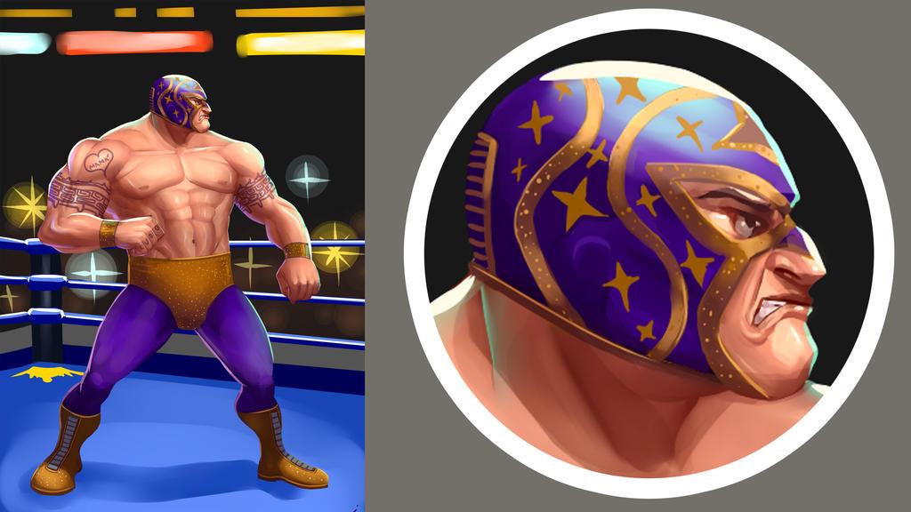 Luchador Rudo (Bad guy wrestler) by victter-le-fou