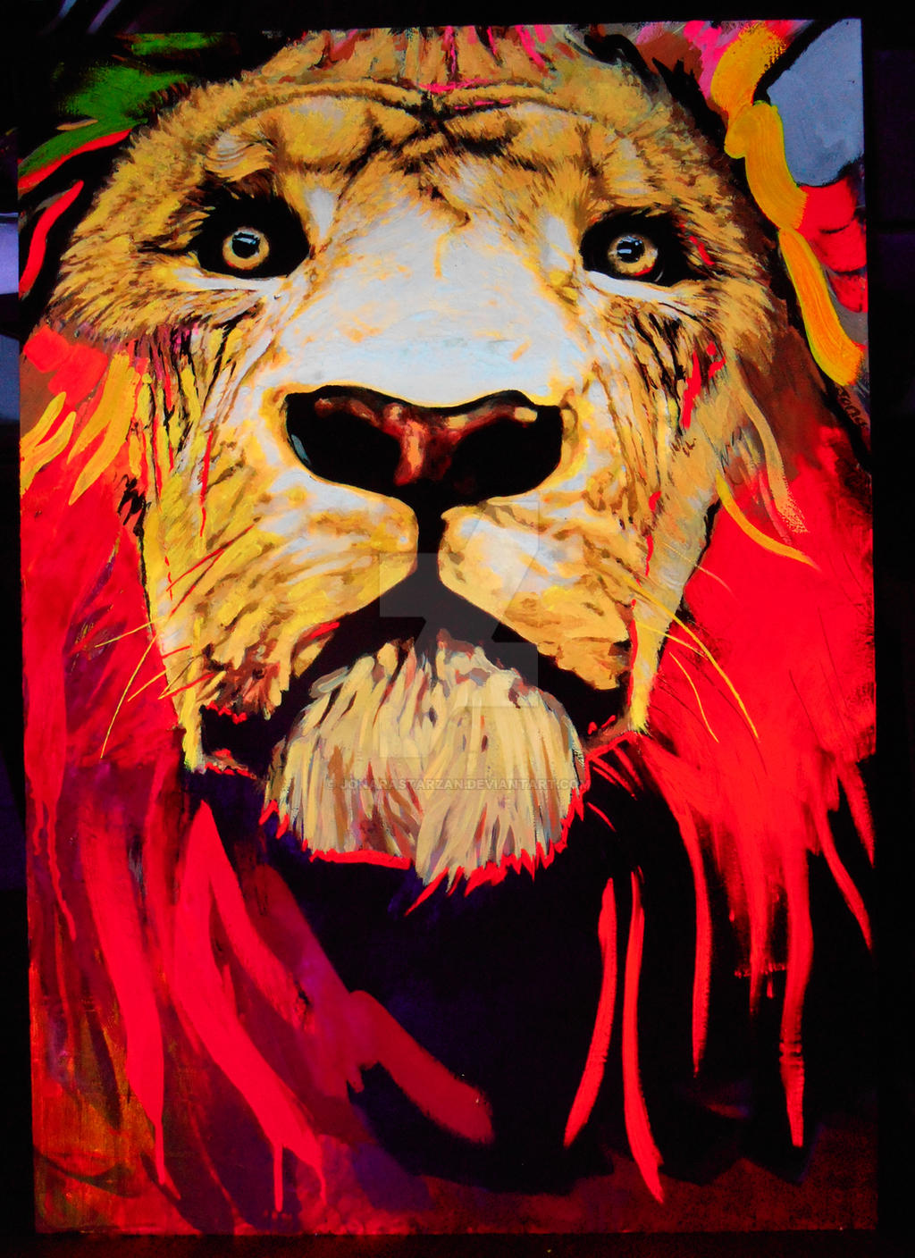 Lion awakes (black light)