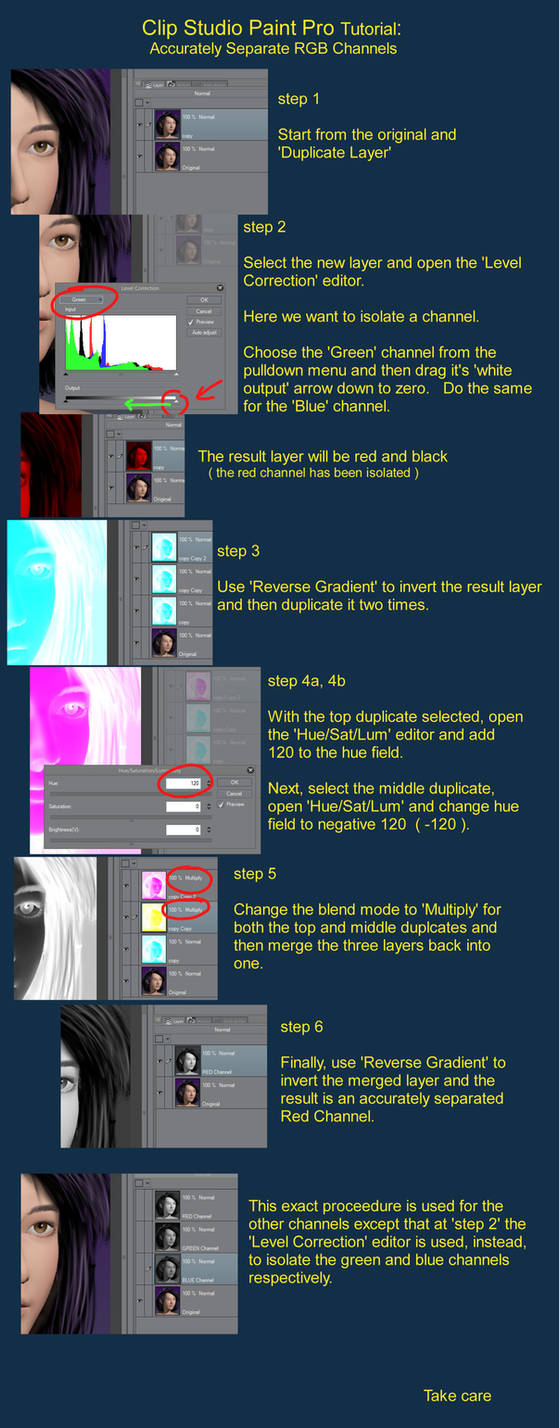 Clip Studio Paint Tutorial: RGB Channel Separation by jdcooke2010