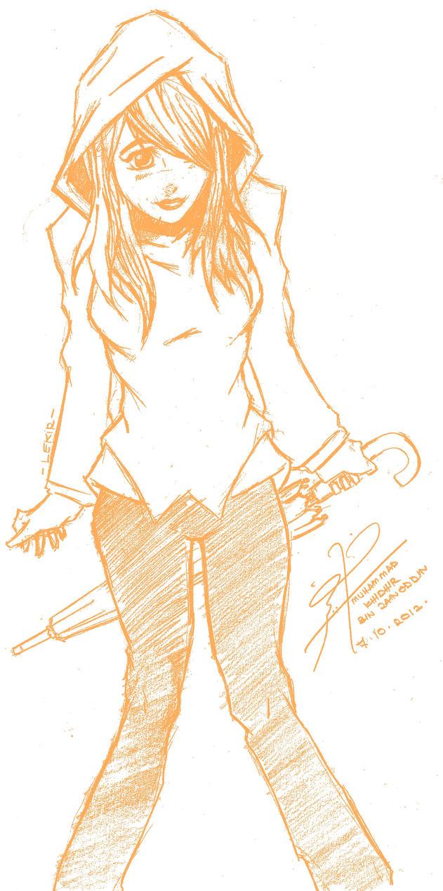 Anime Girl In Hoodie Drawing Hoodie girl by lekirHow To Draw Anime Girl With Hoodie