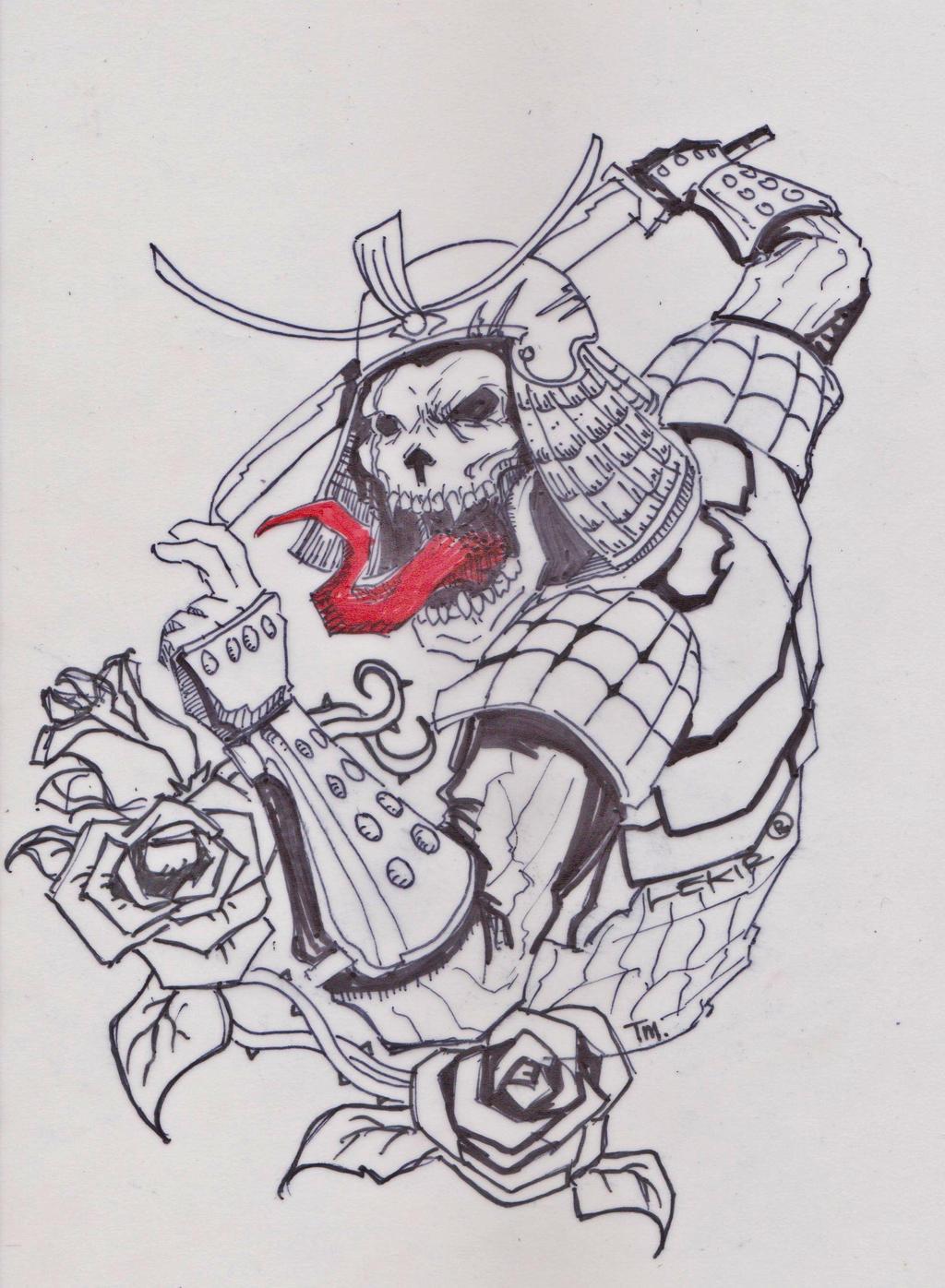 samurai skull design.. by leKir