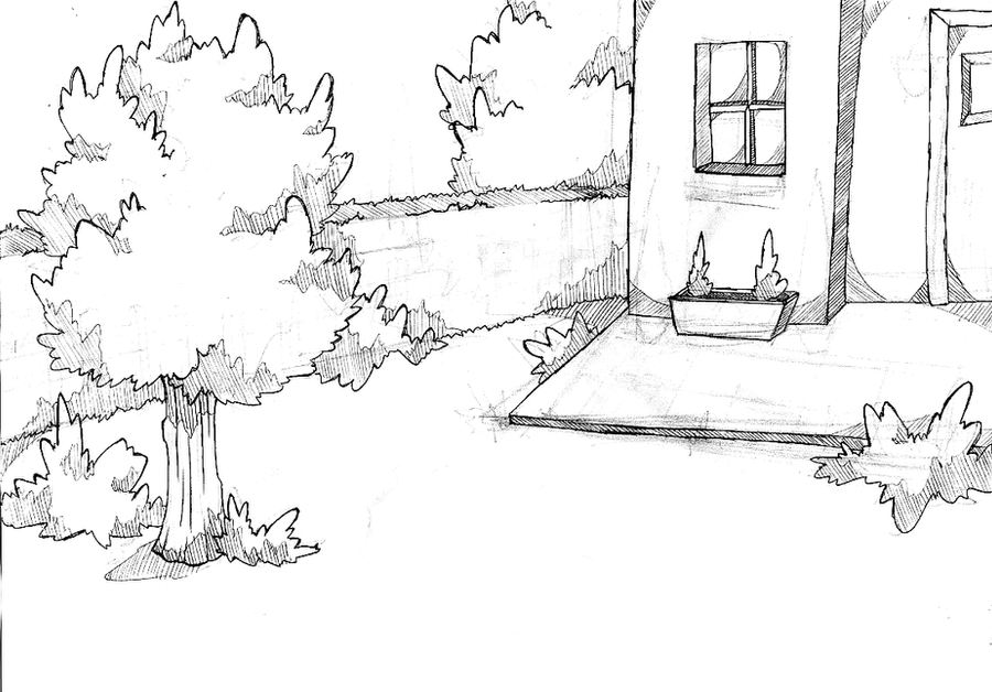 how to draw a sketch of a backyard