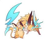 Pikachu and Raichu reboot designs