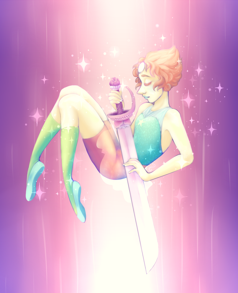 Im trying to get myself (back) into digital painting! Pearl from Steven Universe, with Rose's sword on tumblr: wonkykrystol.tumblr.com/post/1…