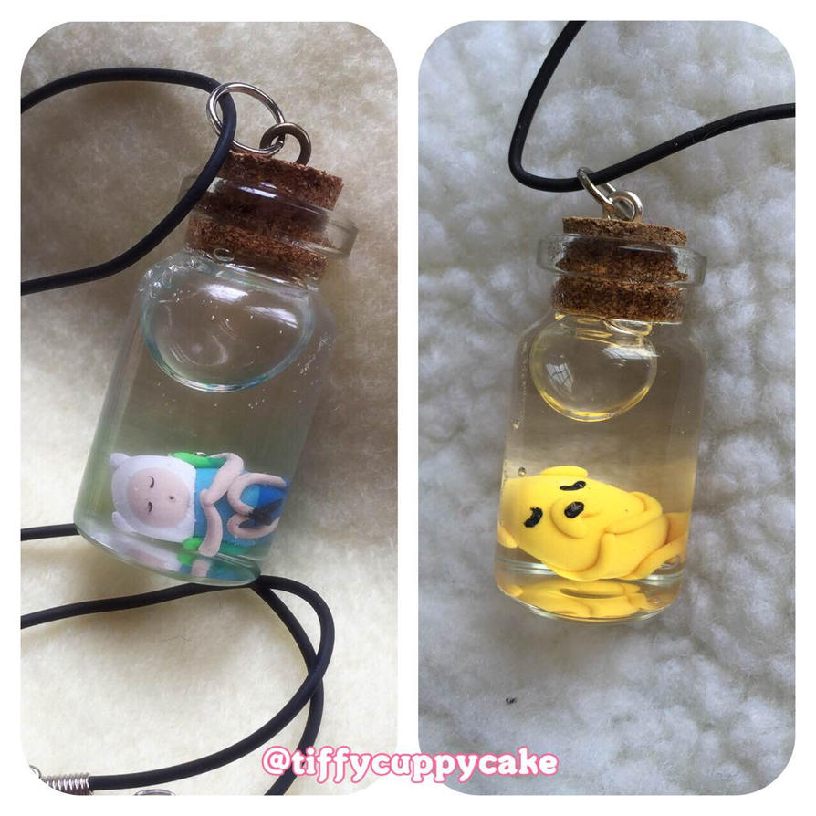 Sleeping Finn and Jake Bottle Necklaces by TiffyyyCuppyCake