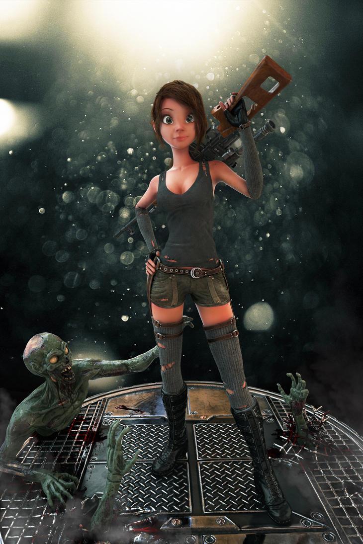 Stylized Zombie Hunter by Skorg3n