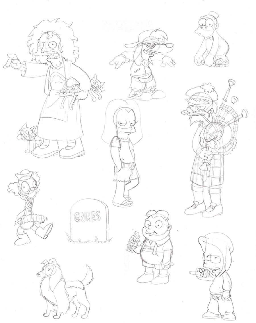 Simpsony Sketches, Part 1 by jbwarner86