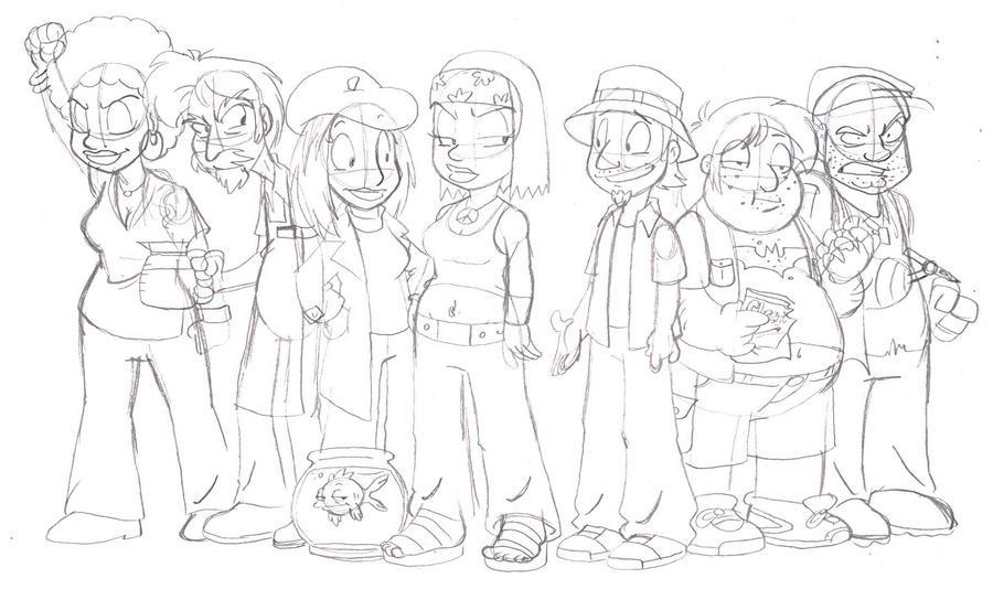 SketchDump 2012 - Hayley and Friends by jbwarner86