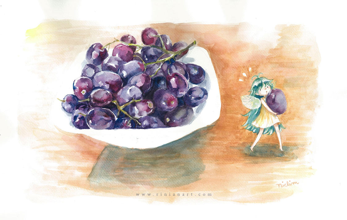 A Grape Thief Tiptoes Away by Rinian