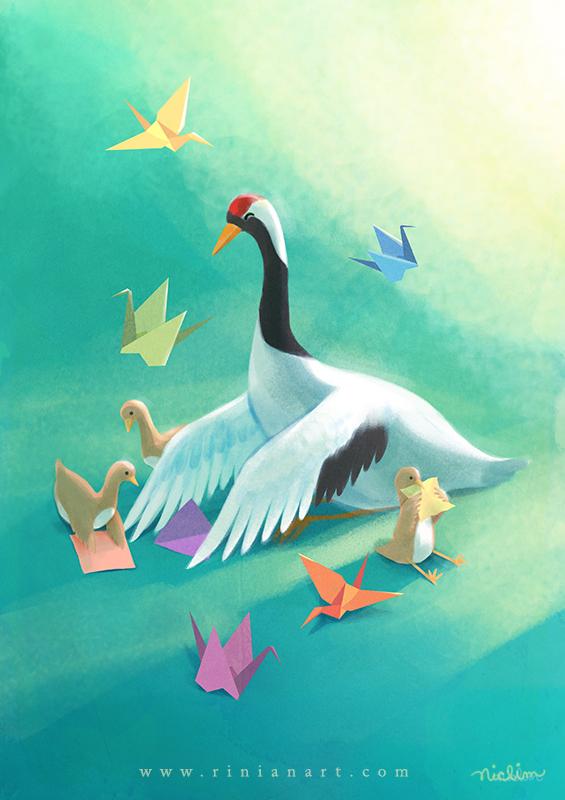 Origami Cranes by Rinian