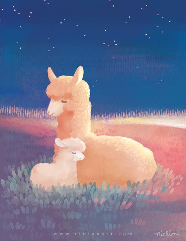 Sleeping Alpacas by Rinian