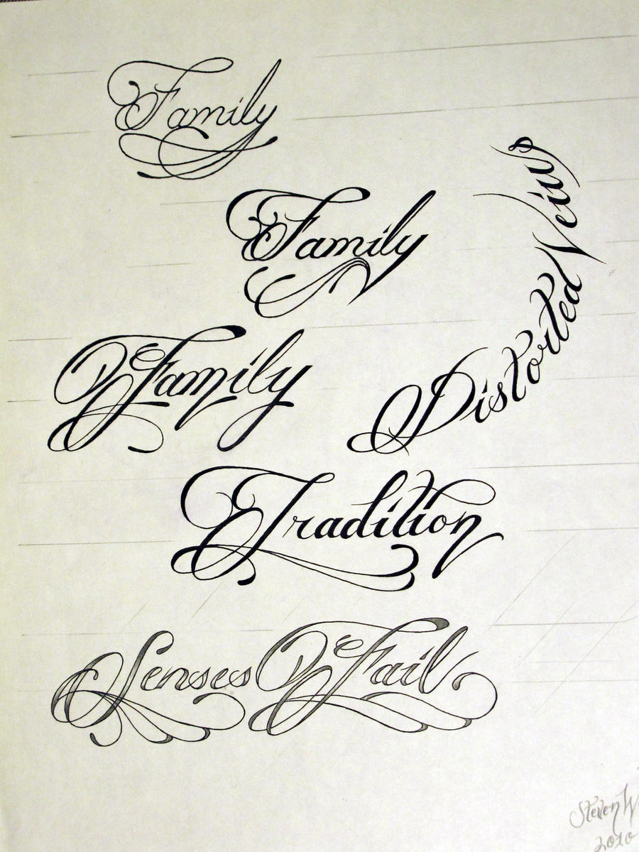 Tattoo script 1 by stevenworthey on deviantart Calligraphy scripts