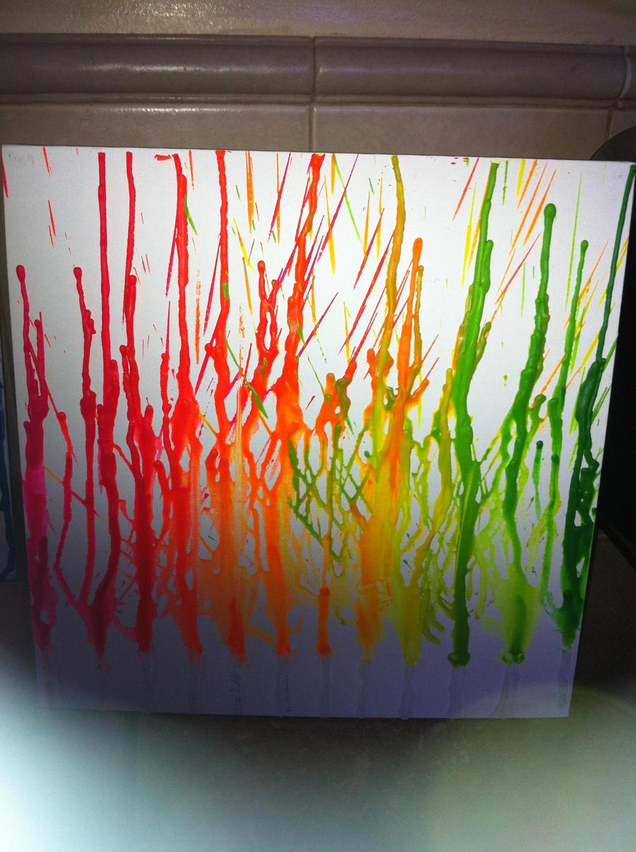 how to make crayon drip art