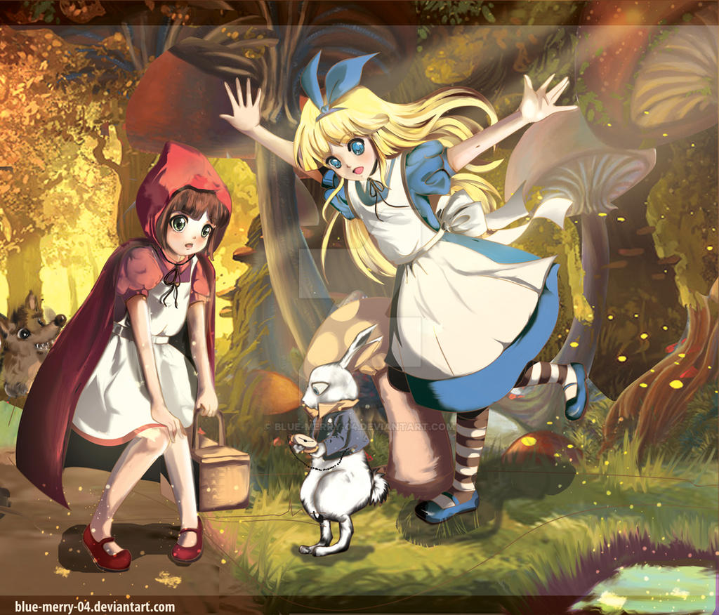 Little red riding hood anime style little red riding hood and alice by blue merry 04 on sciox Choice Image
