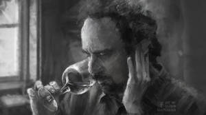 A movie image study. (Dude with wineglass)