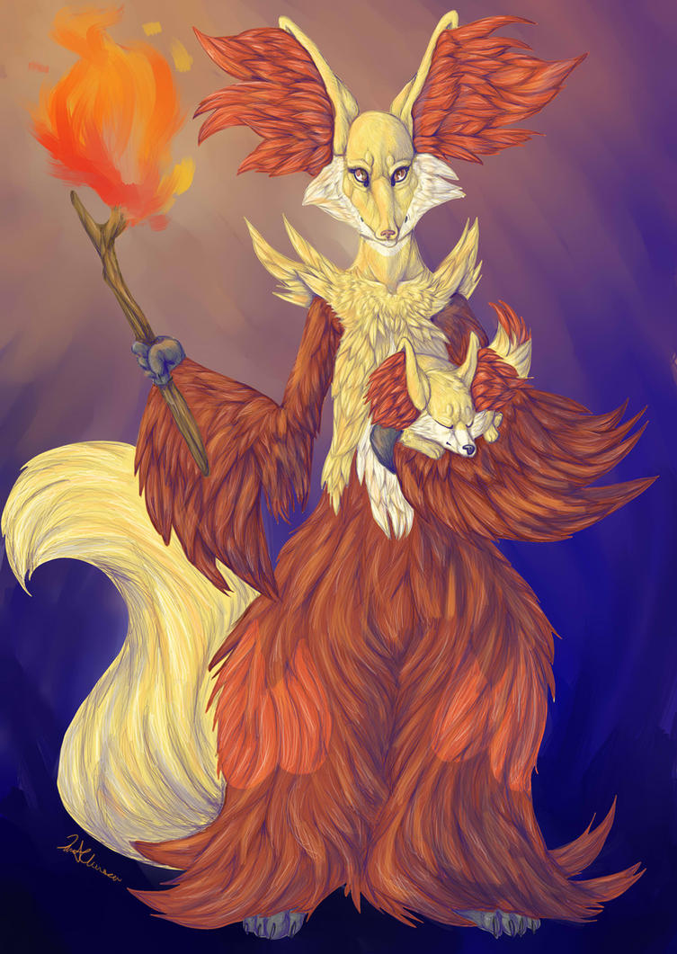 Delphox and Kit by TheSolitarySandpiper