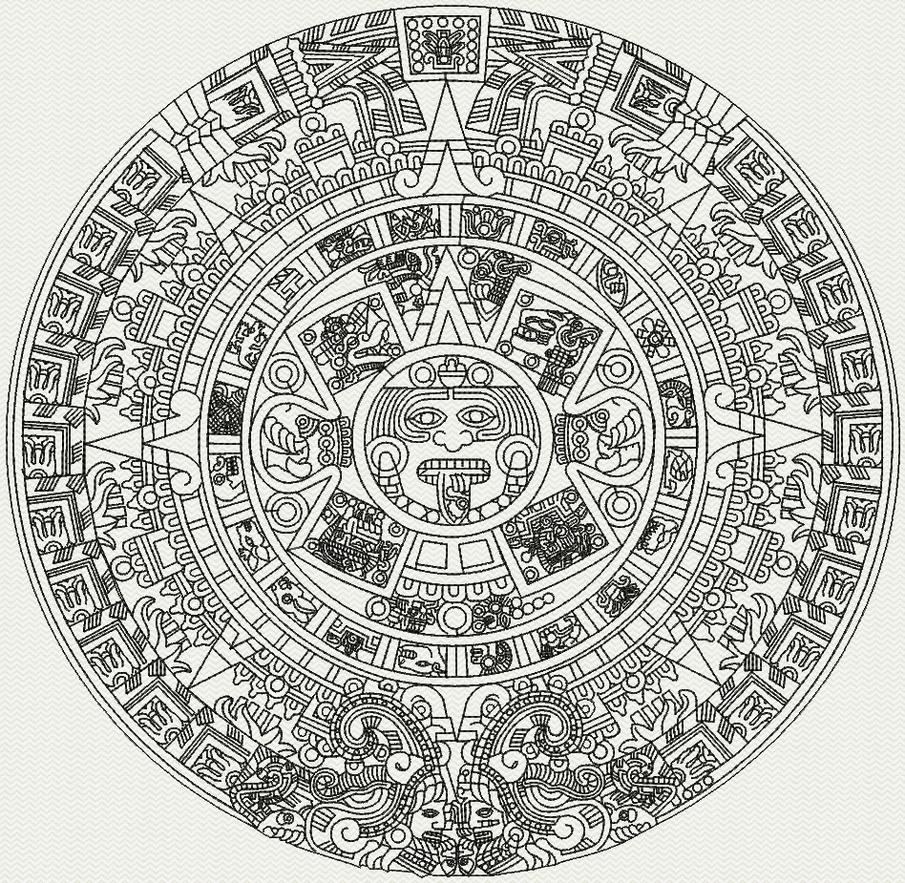 Aztec Calendar Drawing : Aztec calendar by luinks on deviantart