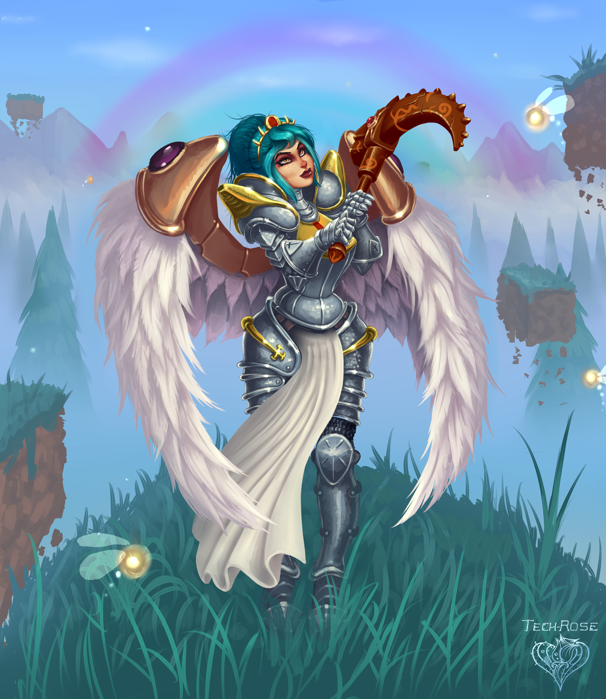 Terraria fan art OC Ketrin Hallowed armor by Xianetta on