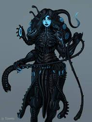 Project Night biomechanical alien girl OC concept