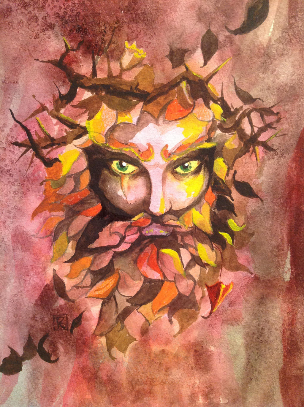 Spirit of Autumn #art #greenman #painting by SylvanCreatures