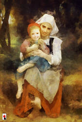 Breton brother and sister portrait by colorARTillery