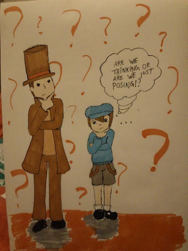 Layton 100 Art Theme Challenge 001 mystery by Chibiklompen